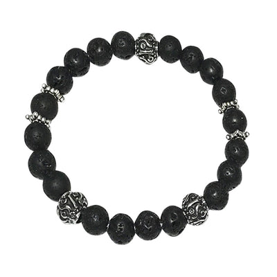 Himalaya Men's Lava Stone and Black Onyx Bracelet Set