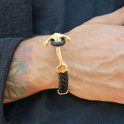 Maritime Gold Anchor Double Braided Leather Bracelet