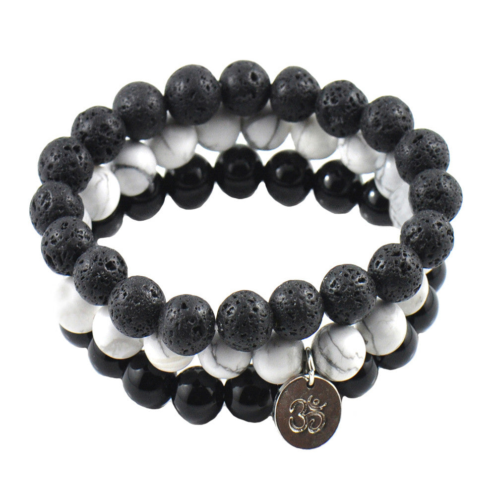 Men's 'Absolute' Black & White Bracelet Set with Om - Forziani - 1