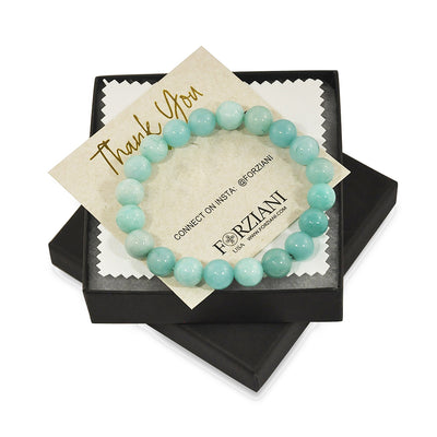 Blue Amazonite Beaded Bracelet for Men - Balance and Rejuvenate