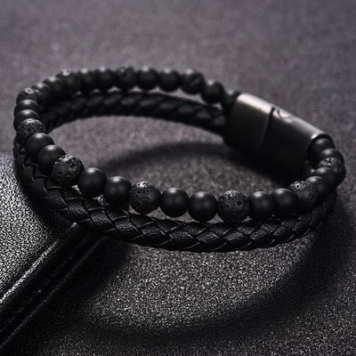 Biscayne Black Lava Rock and Leather Layered Bracelet for Men