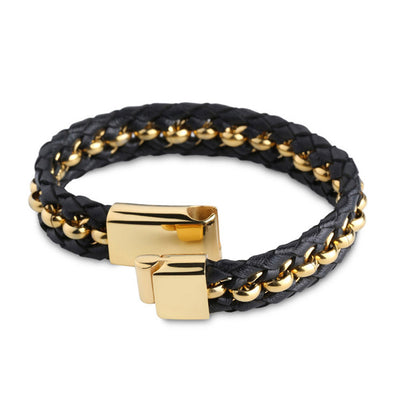Woven Premium Black Nappa Leather and Gold Beads Bracelet - Forziani - 2