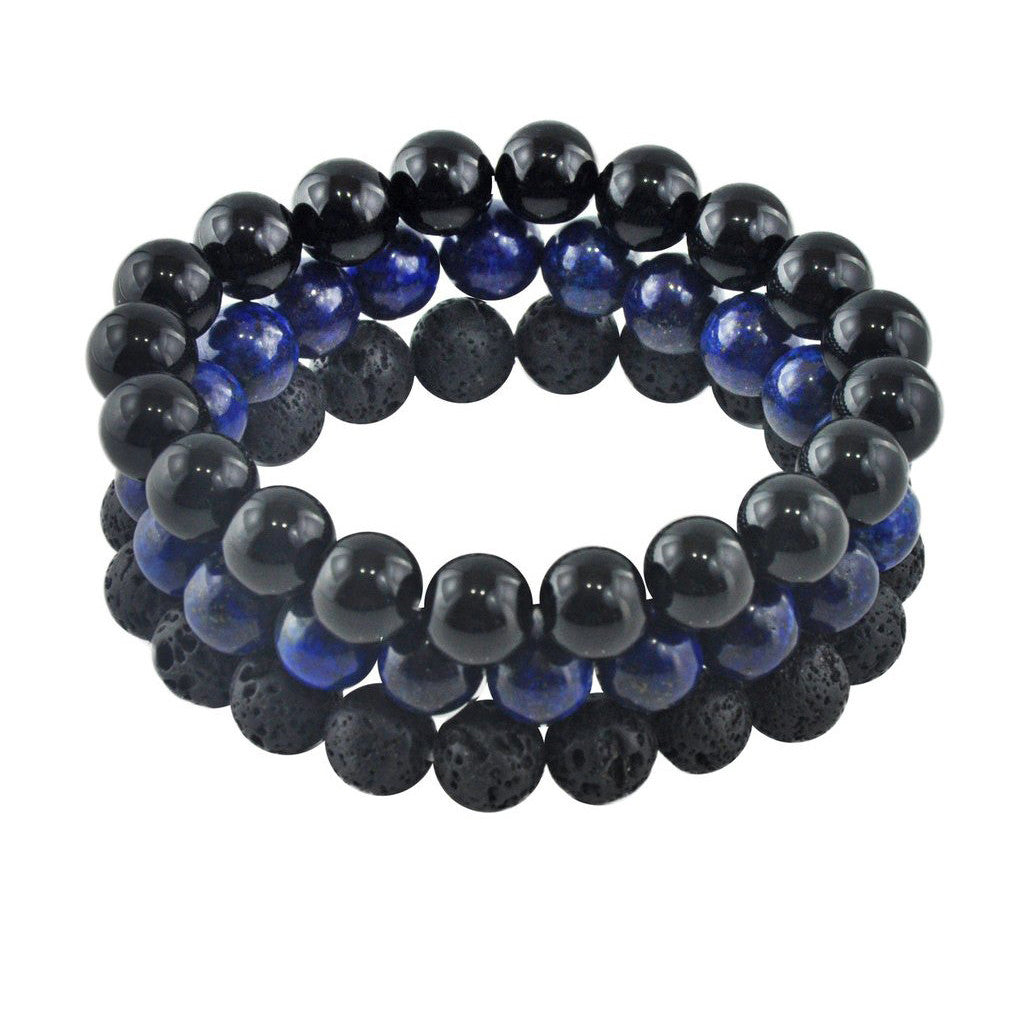 'Wayfarer' Beaded Bracelet Set for Men - Forziani - 1