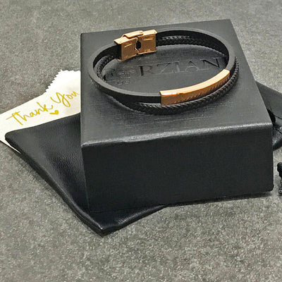 Bourbon Rose Mens Layered Leather Bracelet