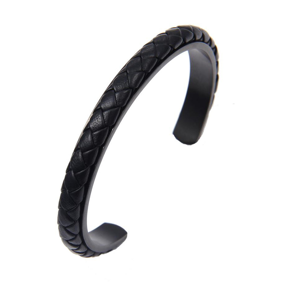 Cable Classic Leather and Steel Cuff Bracelet Matte Black