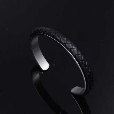 Cable Classic Leather and Steel Cuff Bracelet