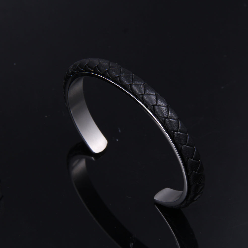 Cable Classic Leather and Black Steel Cuff Bracelet