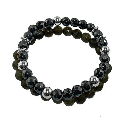 Denali Men's Labradorite and Hematite Bracelet Set