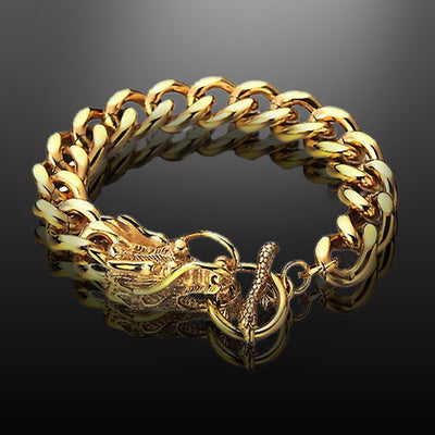 Dizen Gold Dragon Head Bracelet Stainless Steel