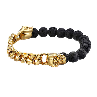 Falco Twin Skull Steel Gold and Black Lava Stone Beads Bracelet