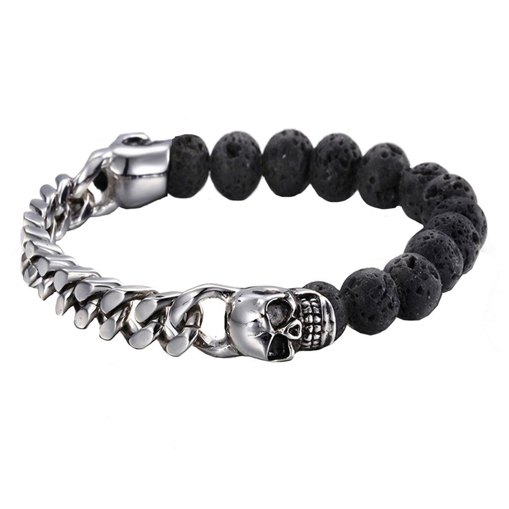Falco Twin Skull Steel Silver and Black Lava Stone Beads Bracelet