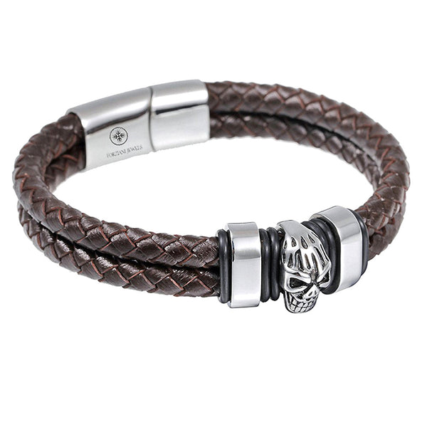 Brown Woven Leather Silver Skull Men's Bracelet - Forziani - 1