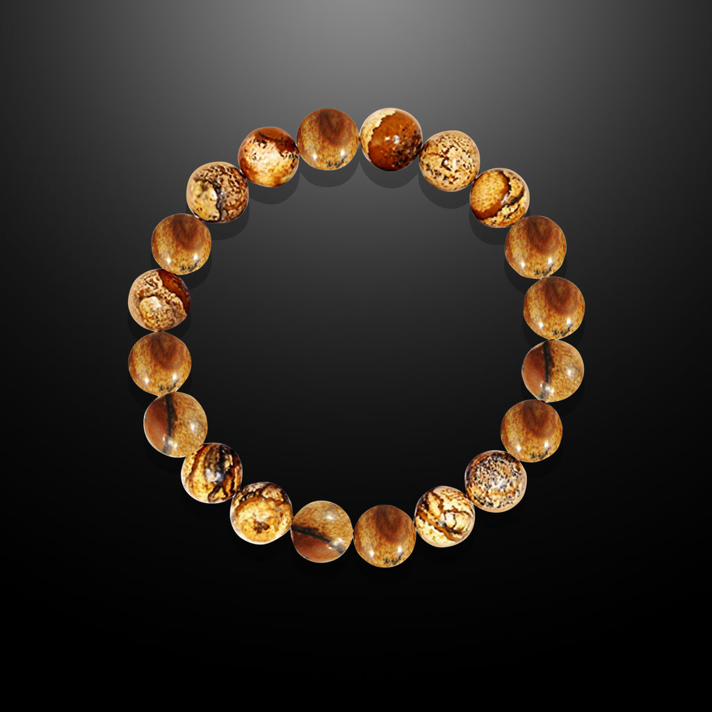 Men's Earthy Brown Picture Jasper Beaded Bracelet