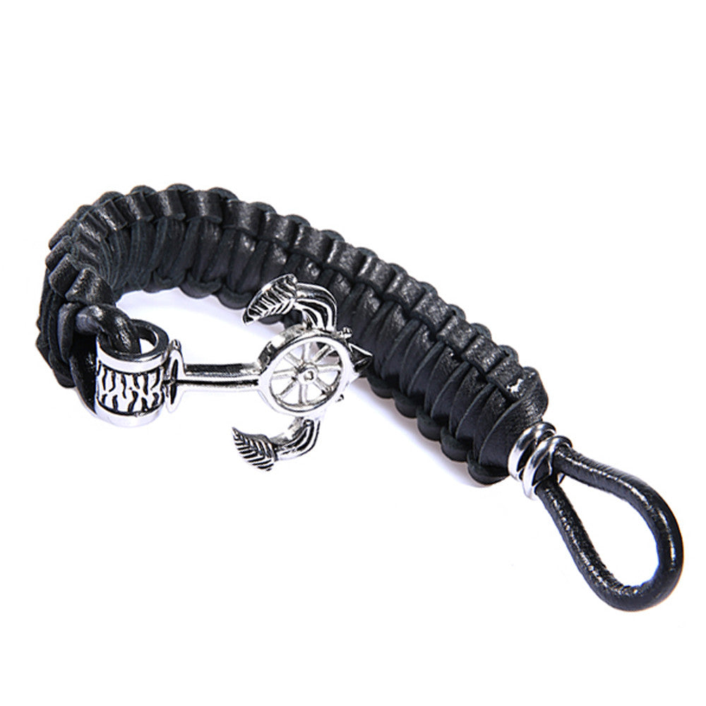 Men's Nautical Anchor Black Leather Bracelet - Adjustable - Forziani - 2