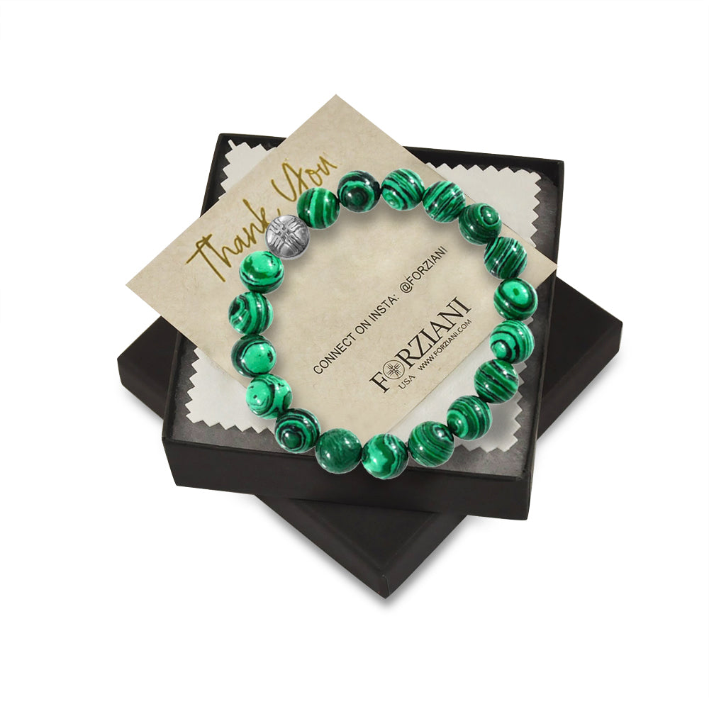 10mm Premium Natural Malachite Mens Beaded Bracelet