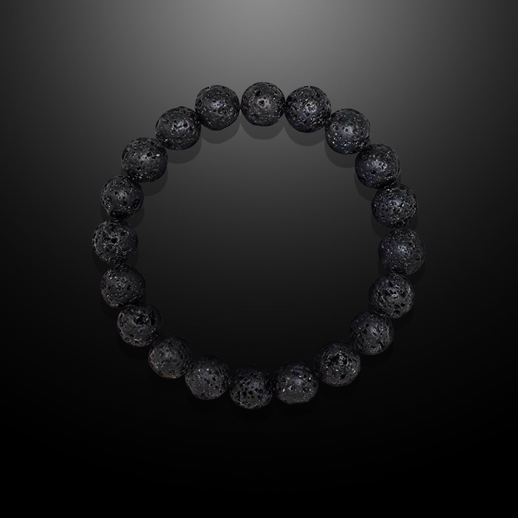 Black Lava Stone Beaded Bracelet for Men - Truth and Strength
