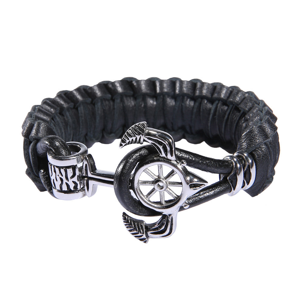 Men's Nautical Anchor Black Leather Bracelet - Adjustable - Forziani - 1