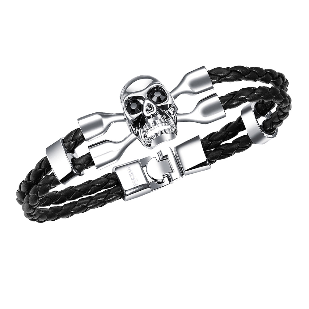 Men's Braided Black Leather and Silver Skull Bracelet