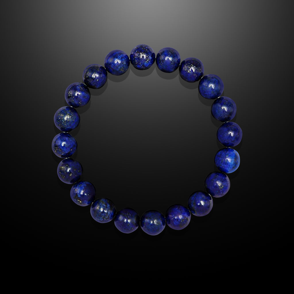 Men's Blue Lapis Beaded Bracelet - Prosperity and Wisdom