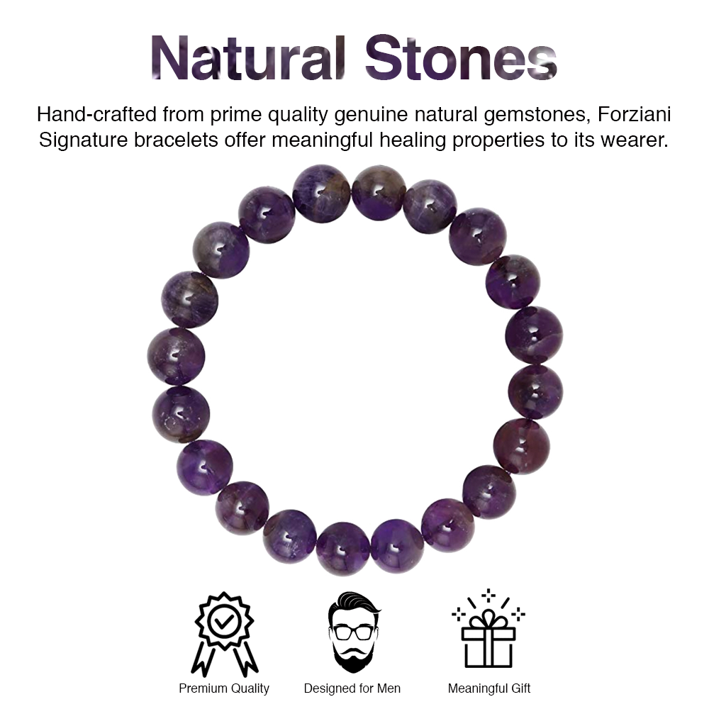 Amethyst Beaded Bracelet for Men - Peace and Spirituality