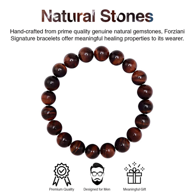 Iron Tiger Eye Beaded Bracelet for Men - Stamina and Courage