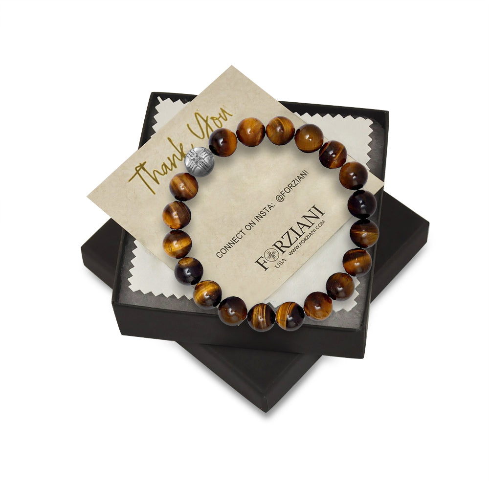 10mm Premium Natural Tiger's Eye Mens Beaded Bracelet