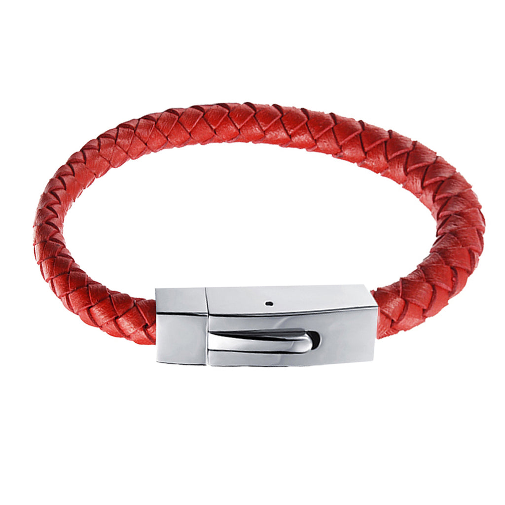 Vector Red Braided Leather Bracelet for Men