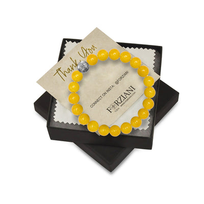 10mm Premium Natural Yellow Jade Mens Beaded Bracelet