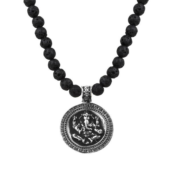 Ganesha Pendant Sterling Silver Necklace in Black Matte - Forziani - 1