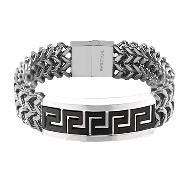 Greek Key Symbol Bracelet Stainless Steel and Black