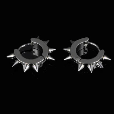 Impale Spikes Hoop Earrings Black Rhodium