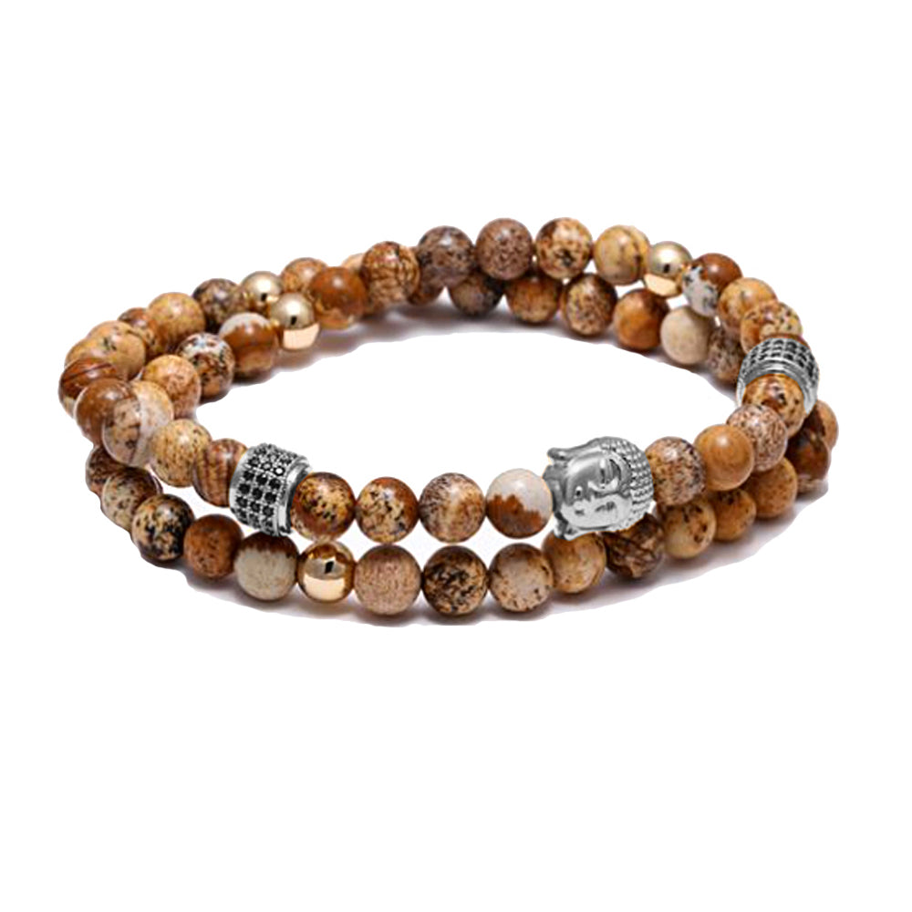 Jasper Beads Wrap Around Buddha Bracelet