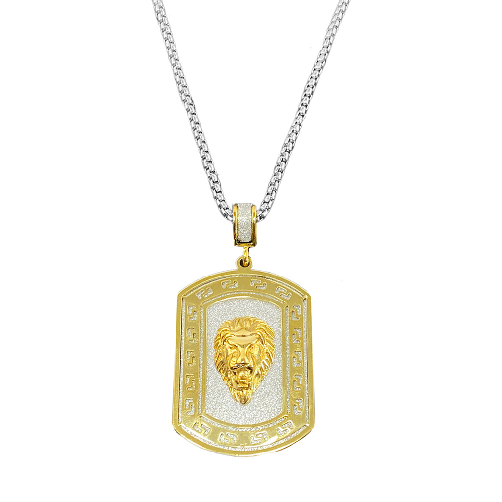 Leon Lion Head Iced Out Stainless Steel Pendant Necklace