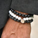 Men's 'Absolute' Black & White Bracelet Set with Om - Forziani - 2