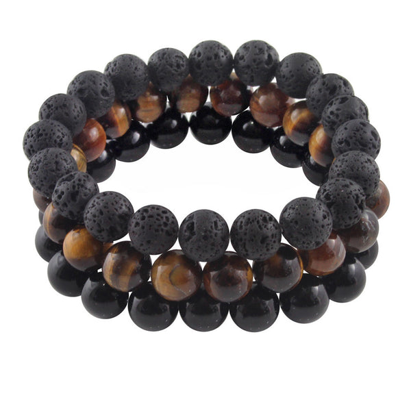 Men's 'Wanderlust' Black and Brown Beaded Bracelet Set - Forziani - 2