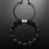 Men's Beaded Bracelet with Silver and Matte Onyx