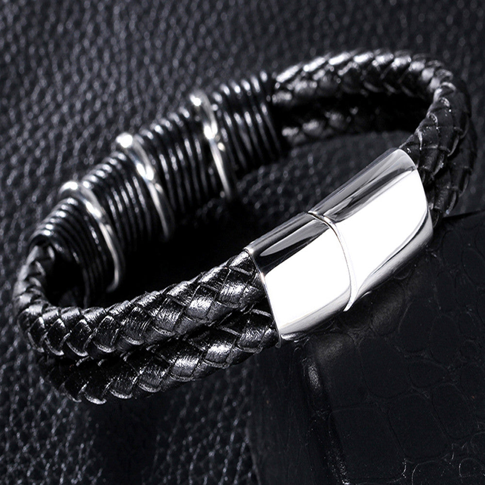 Black Nappa Braided Leather Men's Bracelet - Forziani - 2