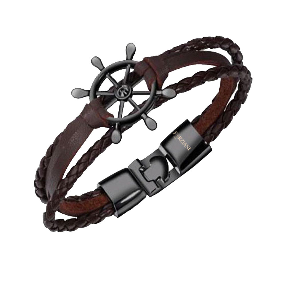 Men's Nautical Wheel Dark Brown Leather Bracelet