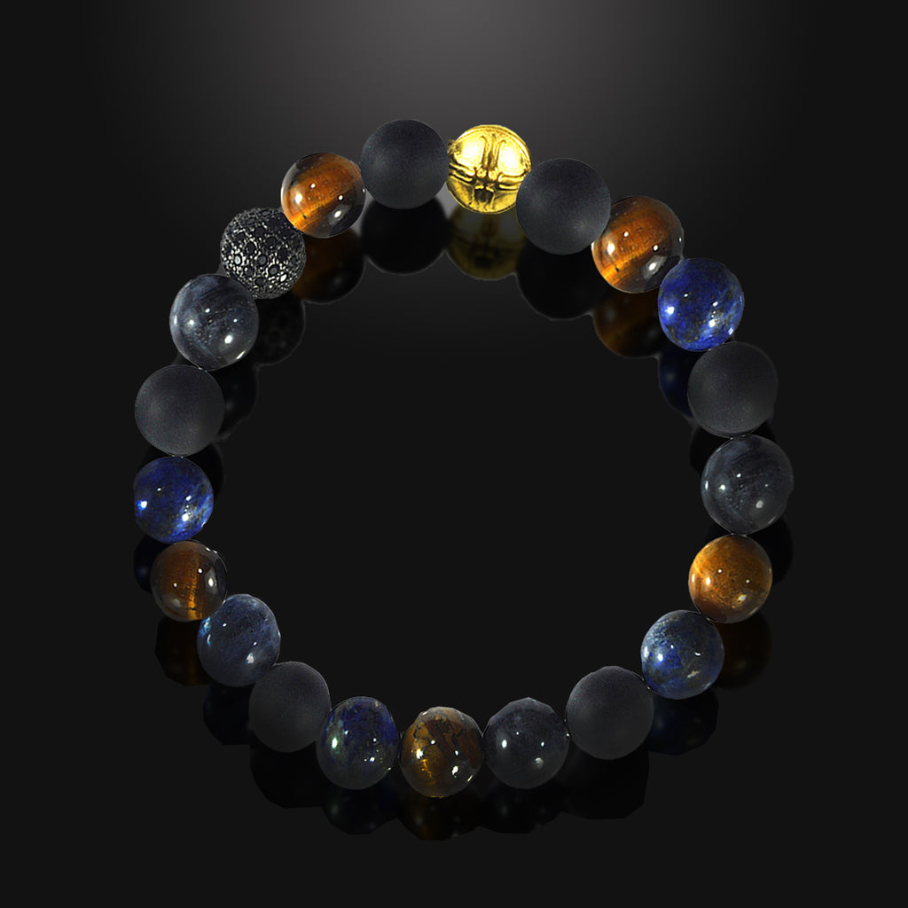 Men's Beaded Bracelet Multi Power Stones Gold and CZ Diamond