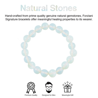 White Moonstone Beaded Bracelet for Men - Traveler's Protection