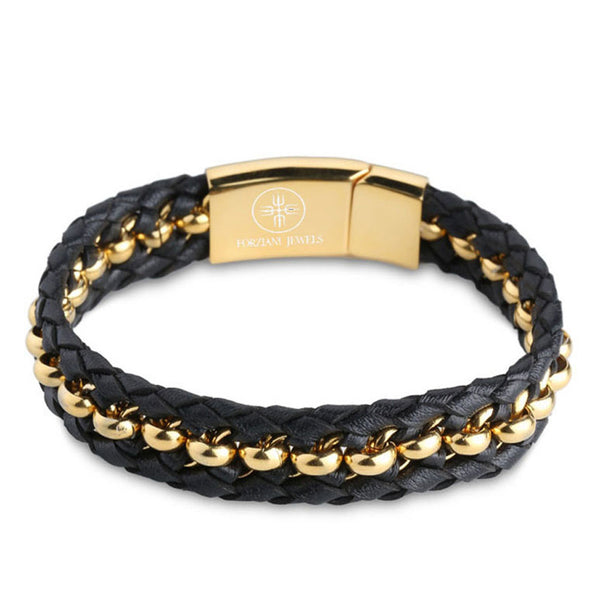 Woven Premium Black Nappa Leather and Gold Beads Bracelet - Forziani - 1
