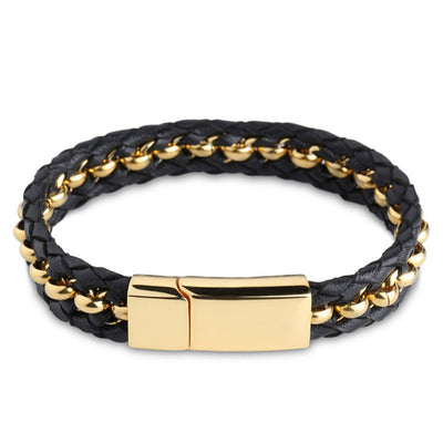Woven Premium Black Nappa Leather and Gold Beads Bracelet