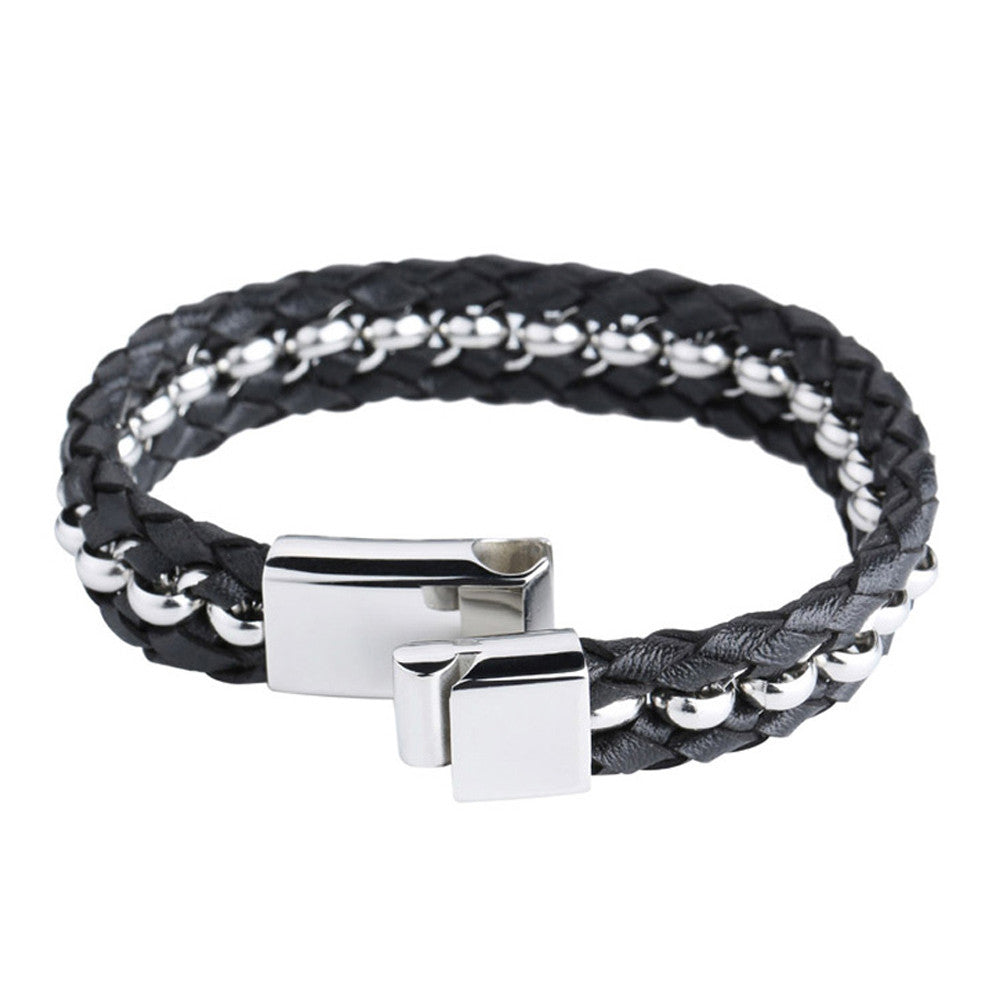 Woven Premium Black Nappa Leather and Silver Beads Wristband - Forziani - 2