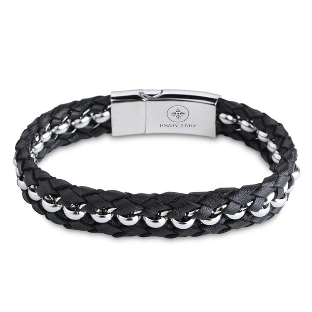 Woven Premium Black Nappa Leather and Silver Beads Wristband - Forziani - 1