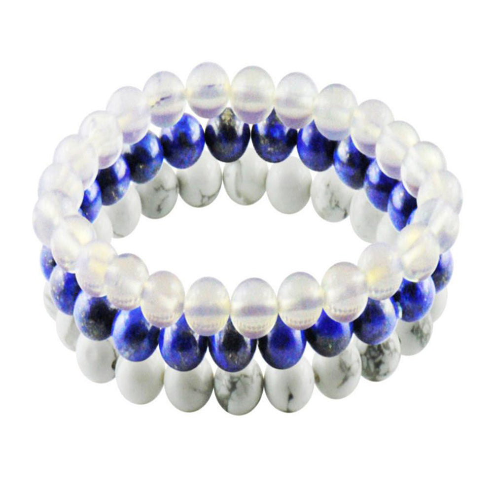 Nautical Blue and White Set of 3 Beaded Bracelets for Men