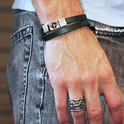Premium Italian Black Nappa Leather Wrap Bracelet