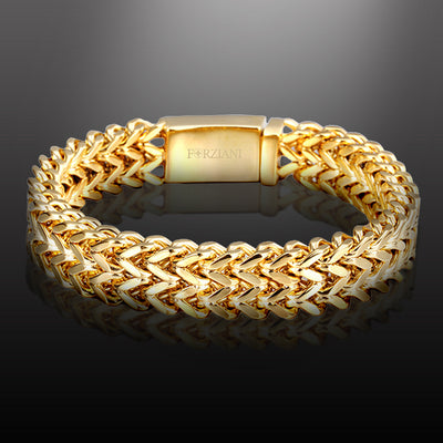Regis Double Franco Link Bracelet Gold Steel