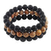 'Salt Life' Black Onyx, Lava Stone and Jasper Beaded Bracelet Set - Forziani - 1