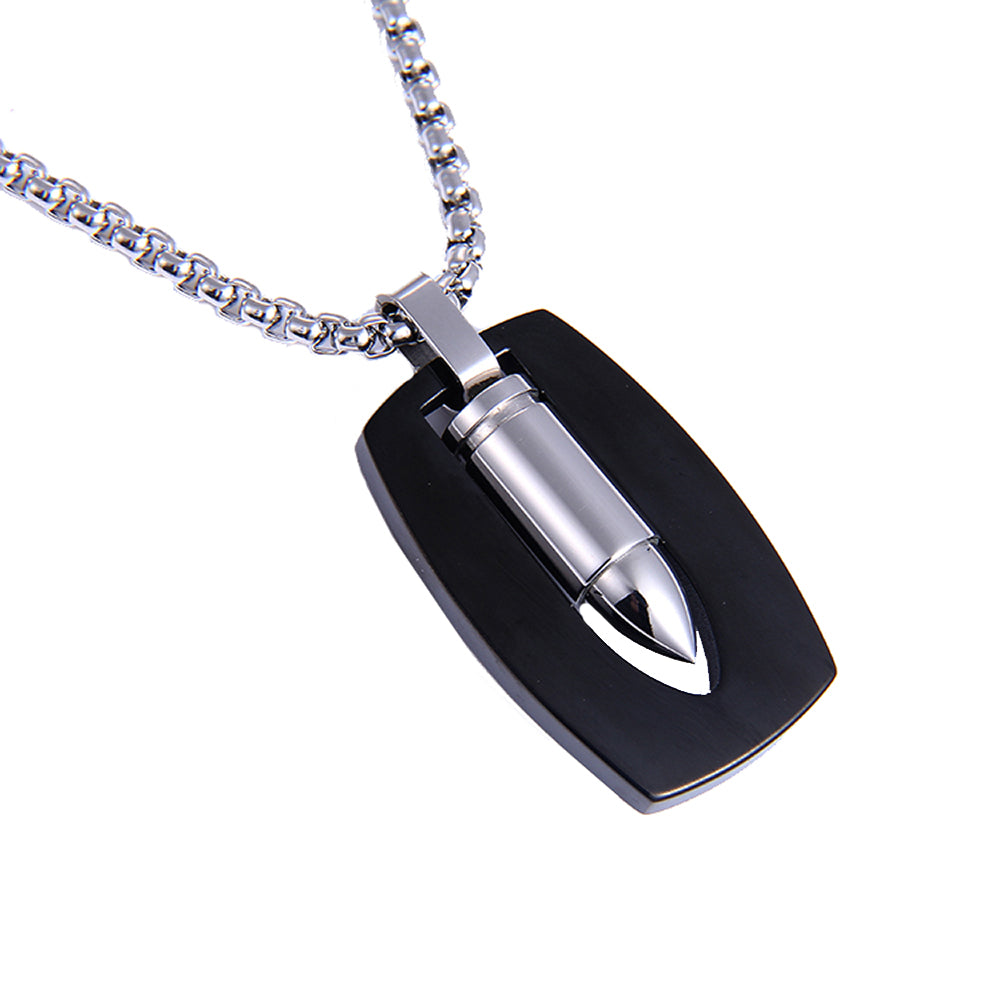 Silver Bullet Pendant Necklace for Men 316L Stainless Steel