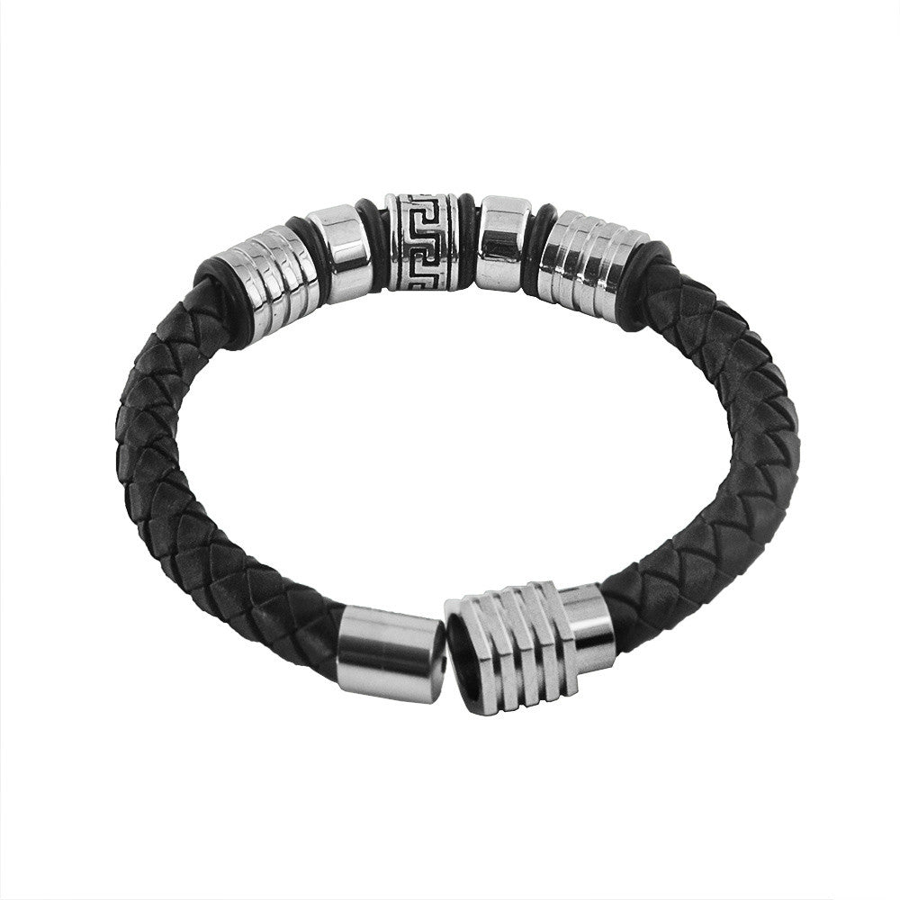 Silver Scroll and Rivets Leather Bracelet for Men